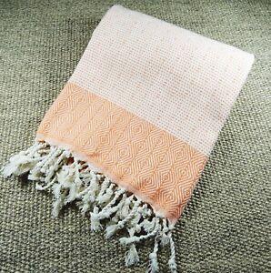 Turkish Hammam Nefes Peshtemal, Beach Towel Peach&White 100x180cm 100% Cotton