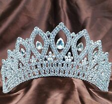 "Vintage Brides 3.5"" Tiara Hair Crown Crystals Veil Headpiece Prom Party Costumes"