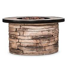 """Chisholm 32"""" Round LP Fire Table - Natural Stone - Threshold™"""