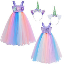 Flowers Kids Girls Rainbow Tutu Dress Bridesmaid Pageant Formal Party Costume