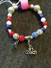 Red White And Blue Bracelet Volleyball Bangle Cross Number One Coach Beaded...