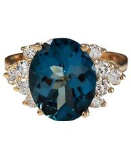 6.05 Carat Natural London Blue Topaz and Diamonds 14K Yellow Gold Ring