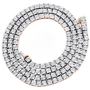 "10K Rose Gold 1 Row Diamond Tennis 4mm Choker Link Chain 20"" Necklace 3.75 CT."