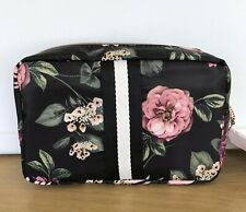SONIA KASHUK Cosmetic Overnighter Black Floral, Pockets, Gold Zipper New