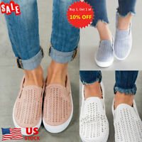 US Women's Hollow Out Round Toe Breathable Slip On Shoe Flats Trainers Sneakers