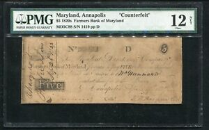 "1820'S $5 FARMERS BANK OF MARYLAND ANNAPOLIS ""COUNTERFEIT"" OBSOLETE PMG F-12"