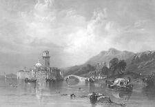 GULF OF VENICE ITALY CHURCH LAGOON BRIDGE ~ 1854 Landscape Art Print Engraving