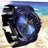 Herrenuhr Marine Military Quarz Armbanduhr Survival Bundeswehr Army-Uhr blau