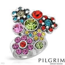 in Silver Setting sz.6 Pilgram Multicolor Flower Crystals