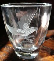 EAGLE etched Vase Smalandshyttan Sweden Double-sided shot glas