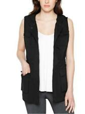 NWT Women's Black MATTY M Hooded Pull String Cargo Vest Size Small S