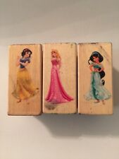 3 Disney Princess Rubber Stamp Wood Mounted Snow White, Jasmine, Sleeping Beauty