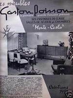 PUBLICITÉ 1959 MEUBLES GASTON POISSON SALLES DE SÉJOUR MONTE-CARLO - ADVERTISING