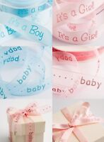 Satin Organza Baby Ribbon Boy Girl Teddy Pink Blue Christening Cake Shower