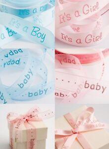 Satin Organza Baby Ribbon Boy Girl Teddy Pink Blue Christening Cake Shower