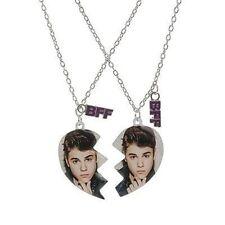 Justin Bieber Best Friends Heart Pendant Necklace Set of 2 JB BFF Besties NWT