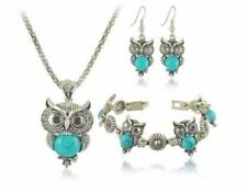 NEW OWL SET 3 Pc  Necklace * Earrings *  Bracelet - Tibetan Silver Turquoise