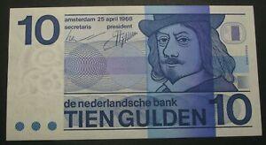 NETHERLANDS 10 Gulden 25.4.1968 - Pick 91 - UNC