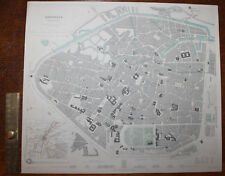 1852 Brussels Bruxelles City Plan Hand Coloured Original Antique MAP Knight