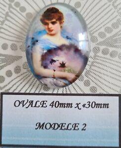 Cabochon verre ovale 40 x 30mm personnage style victorien modèle 2