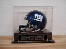 Mini Helmet Display Case With A Patriots Super Bowl 38 Engraved Nameplate