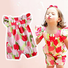"Vaenait Baby Infant Girl Clothes Sleeveless Frill Bodysuit Outfit ""Tulip"" 0-24M"