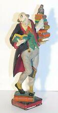 Vtg. Hand Carved & Painted Wood Figure Professor Man/ Owl/ Books W. Germany