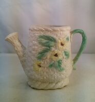 Vtg Mid-Century Pottery Watering Can Planter Vase Daisy Flowers herb garden