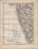 1902 Mappa ~ India Sud Occidente ~ Bombay Goa Mysore