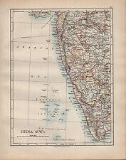 1902 MAP ~ INDIA SOUTH WEST ~ BOMBAY GOA MYSORE