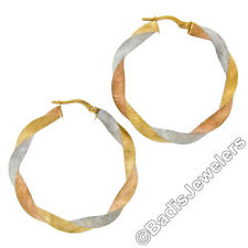New Italian 14K Tri Color Gold 38mm Large Twisted Stone Finished Hoop Earrings