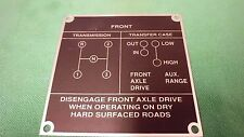 Jeep Willys MA MB CJ2A CJ3A Shift pattern plate US MADE!! (P41)