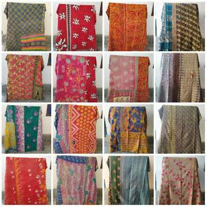 Indian Kantha Quilt Coverlet Vintage Bedding Bedspread Reversible Blanket Throw