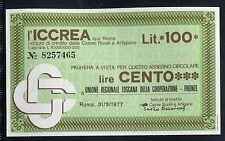 ICCREA 1977/UNIONE TOSCANA COOP.FIRENZE/MINIASSEGNI/PAPER MONEY/FDS/UNC