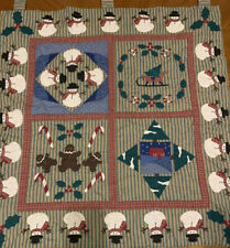 """Snowmen And Holly Quilted Wall Hanging Decor. Christmas. Winter. 33""""x31"""""""