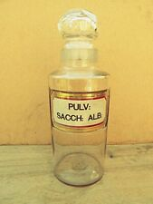 REMODELLED ANTIQUE LARGE APOTHECARY/CHEMIST PHARMACY BOTTLE - PULV: SACCH: ALB: