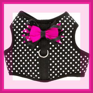 Top Paw Black White Polka Dot Hot Pink Bows Soft Dog Vest Harness XXS