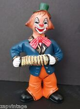 Vintage 1989 Decorative Retro PERFORMING Clown Souza Portugal Statue Concertina