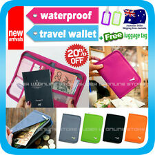Travel Wallet Passport Holder Card Organizer Bag Ticket Case Pouch+Tag V2 Orange