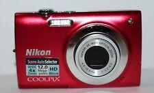 NIKON COOLPIX S2550 12.0 MP DIGITAL CAMERA - FAULTY - RED - 1410