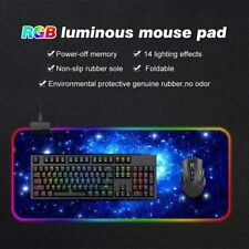 More details for uk 80*30cm anti-slip rgb led gaming mouse mat for pc laptop keyboard mouse pad