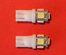 "2 x T10, W5W, 501, 5 SMD 5050 LED WHITE BULB ""Sidelights"" NEW"