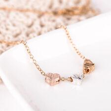 18a149bd3778 Collar de Cadena Para Mujer de Acero Inoxidable Tres corazones Colgante Oro  Rosa