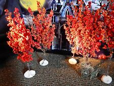 Set 5 HALLOWEEN Fall ORANGE Autumn TREES VILLAGE Display platform base Dept 56 1