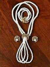 Vintage FLORENZA Jewelry Set Rhinestone Necklace Bracelet Earrings w/Faux Pearls