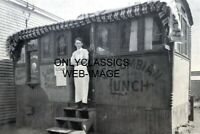 "1913 COLUMBIAN LUNCH BOX & CHEF PHOTO ""THE ORIGINAL FOOD TRUCK"" DINER AMERICANA"