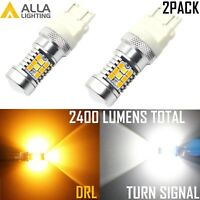 Alla Lighting 3157 Super Bright YellowTurn Signal  White DRL Running Light Bulb