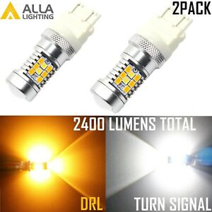 Alla Lighting 3157 Super Bright YellowTurn Signal| White DRL Running Light Bulb