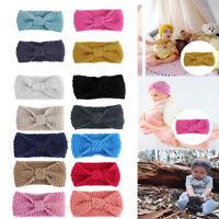 Baby Infant Newborn Girl Crochet Knitted Button Bow Headband Hair Band Head Wrap