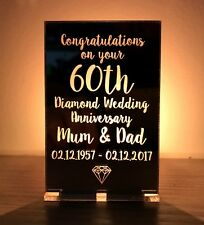 Personalised 60th Diamond Wedding Anniversary Gifts Candle Holder Mum Dad Gift